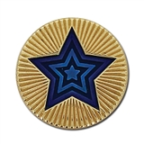 Round Star Enamel Badge - Blue