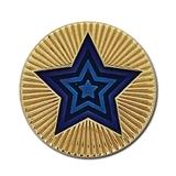 Round Star Enamel Badge - Blue