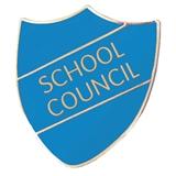 School Council Enamel Shield Badge - Cyan