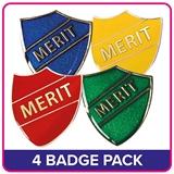 4 Mixed Merit Shield Badge Value Pack - Enamel