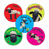 Sheet of 70 Mixed Shaun the Sheep 25mm Stickers
