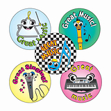Music Stickers (70 Stickers - 25mm)