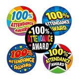 100% Attendance Stickers (70 Stickers - 25mm) Brainwaves