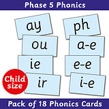 Phonics Cards Phase 5 - Child Size (18 Cards)