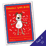 Pack of 20 - Fantastic Work Award - DOG - A5 Cert Pedagogs