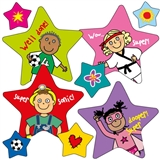 Pedagogs Star/Circle Stickers (36 Stickers - Mixed Sizes)