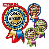 Metallic Head Teacher's Award Rosette Stickers (25 Stickers - 54mm x 37mm) Brainwaves