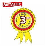 Metallic 3rd Place Rosette Stickers (25 Stickers - 54mm x 37mm)