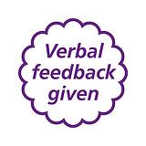 Verbal Feedback Given Stamper - Purple Ink (20mm)