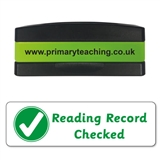 Reading Record Checked Stakz Stamper - Green Ink (44mm x 13mm)