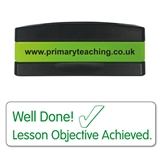 Well Done! Lesson Objective Achieved Stakz Stamper - Green Ink (44mm x 13mm)