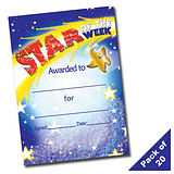 Pack of 20 Star of the Week Portrait A5 Certificates