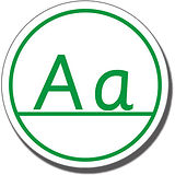 Capital Letters 'Aa' Stamper - Green Ink (25mm)