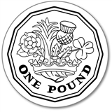 One Pound Coin Pre-inked Stamper - Black Ink (25mm)