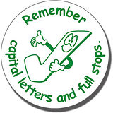 Remember Capital Letters and Full Stops Stamper (21mm)