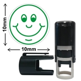 Smiley Face Mini Stamper - Green Ink (10mm)