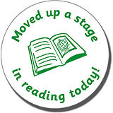 Moved Up a Stage in Reading Today! Stamper - Green Ink (25mm)