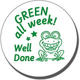 GREEN All Week! Well Done' Frog Stamper - Green Ink (21mm)