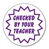 Checked By Your Teacher Stamper - Purple Ink (25mm)