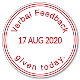 Verbal Feedback Given Today Adjustable Date Stamper - Red Ink (38mm)