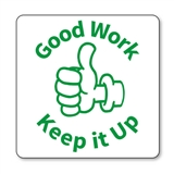 Good Work Keep it Up Thumbs Up Stamper - Green Ink (25mm)