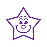 Smiley Star Stamper - Purple Ink (20mm) Brainwaves