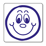 Smiley Face Stamper - Blue Ink (20mm) Brainwaves