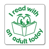 I Read with an Adult Today Stamper - Green Ink (25mm)