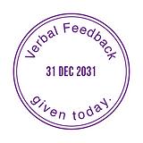 Verbal Feedback Given Today Adjustable Date Stamper - Purple Ink (38mm)
