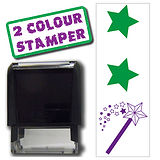 2 Stars & a Wish 2 Colour Stamper - Purple & Green Ink (46mm x 16mm)