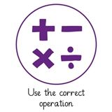 Pedagogs 'Use the Correct Operation' Stamper - Purple Ink (25mm)