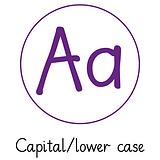 Pedagogs Marking Stamper - Aa Capital/Lower Case (Purple Ink - 20mm)