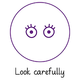 Pedagogs Marking Stamper - Look Carefully (Purple Ink - 20mm)