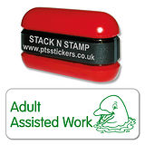 Adult Assisted Work Stack & Stamp - Green Ink (38mm x 15mm)