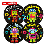 Robot Reward Stickers (20 Stickers - 32mm) Brainwaves