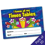 I Know All My Times Tables Certificates (20 Certificates - A5)