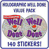 Value Pack of 140 Well Done Holographic Smile 37mm Stickers