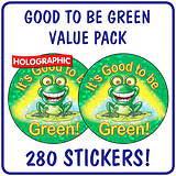 Holographic It's Good to be Green Stickers Value Pack (280 Stickers - 37mm)