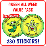 Holographic Green All Week Stickers Value Pack (280 Stickers - 37mm)