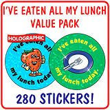 Holographic Eaten All My Lunch Stickers Value Pack (280 Stickers - 37mm)