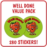 Well Done Strawberry Stickers Value Pack - Unscented (280 Stickers - 37mm)