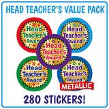 Metallic Head Teacher's Award Stickers Value Pack (280 Stickers - 37mm) Brainwaves