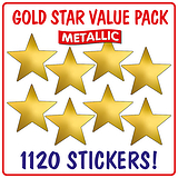 Metallic Gold Star Stickers Value Pack (1120 Stickers - 20mm)