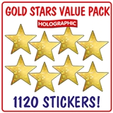 Holographic Gold Star Stickers (1120 Stickers - 20mm) Brainwaves