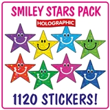Holographic Smiley Star Stickers (1120 Stickers - 20mm) Brainwaves