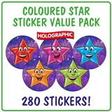 Holographic Star Stickers Value Pack (280 Stickers - 20mm)