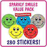 Value Pack of  280 Smile Holographic 20mm Stickers