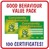 Consistently Good Behaviour Certificate Value Pack (100 Certificates - A5)
