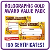 Holographic Gold Award Certificates Value Pack (100 Certificates - A5)