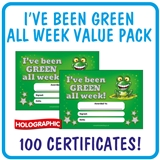 Holographic Green All Week Certificates Value Pack (100 Certificates - A5)